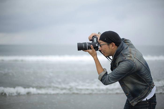 海での撮影風景